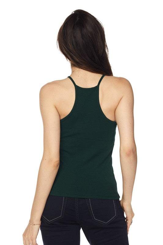 375d1aa2b5555 Lindsay High Neck Ribbed Tank Top - Mint Wish