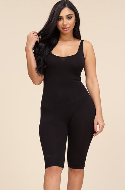 Essential Movement Knee Length Jumpsuit (Black) - Mint Wish