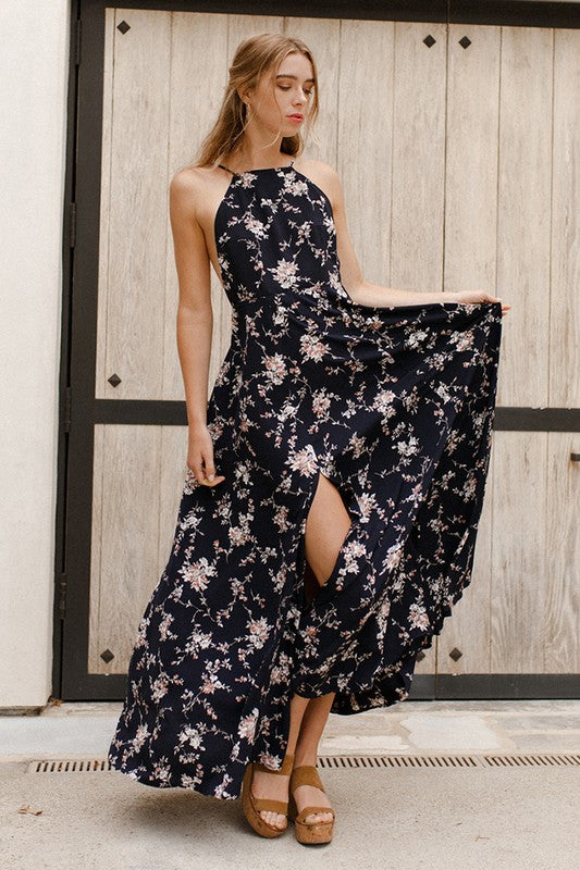 Moonlight Meadows Floral Slit Maxi Dress - Mint Wish