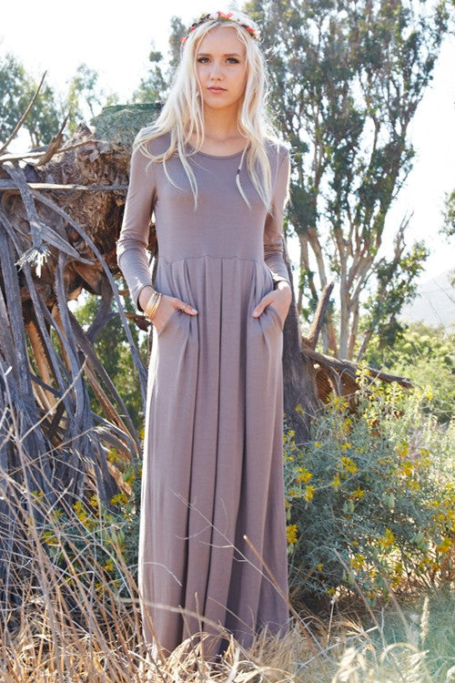 Among The Willows Long Sleeve Maxi Dress (Mocha) - Mint Wish
