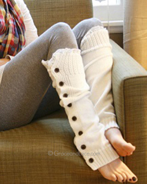 Grace & Lace Lace Miss Molly Leg Warmers™ (Off White) - Mint Wish