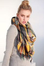 Fall Feelings Blanket Scarf (Mustard & Sage Plaid) - Babe Outfitters