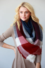 Cozy Days Blanket Scarf (Navy & Red Color Block) - Babe Outfitters