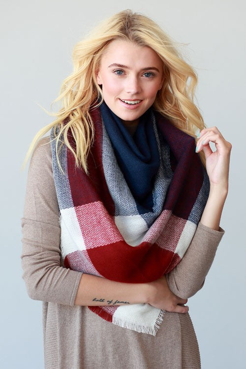 Blanket Scarf (Navy & Red Color Block)