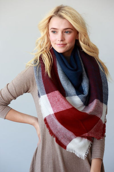 Blanket Scarf in Navy & Red Color Block - Mint Wish