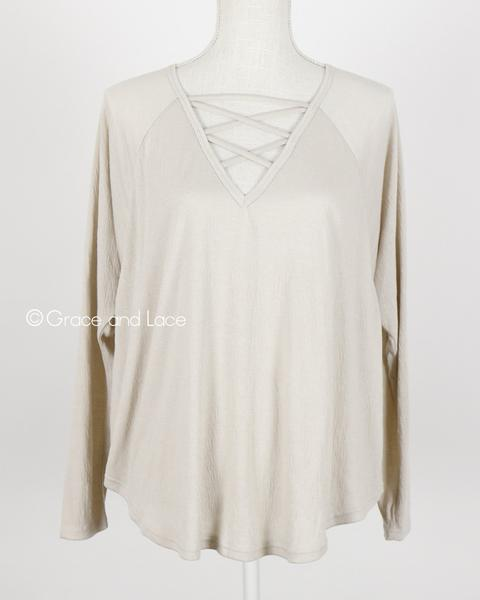 Grace & Lace Criss Cross Raglan Top - Babe Outfitters