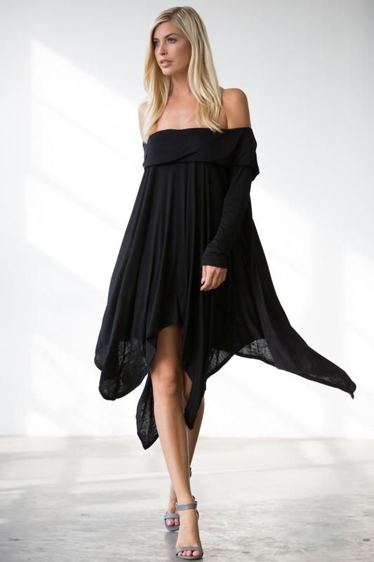 Alexis Angled Hem Sharkbite Dress or Top (Black)