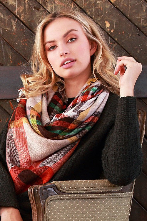 Warm and Toasty Blanket Scarf (Orange Plaid) - Babe Outfitters