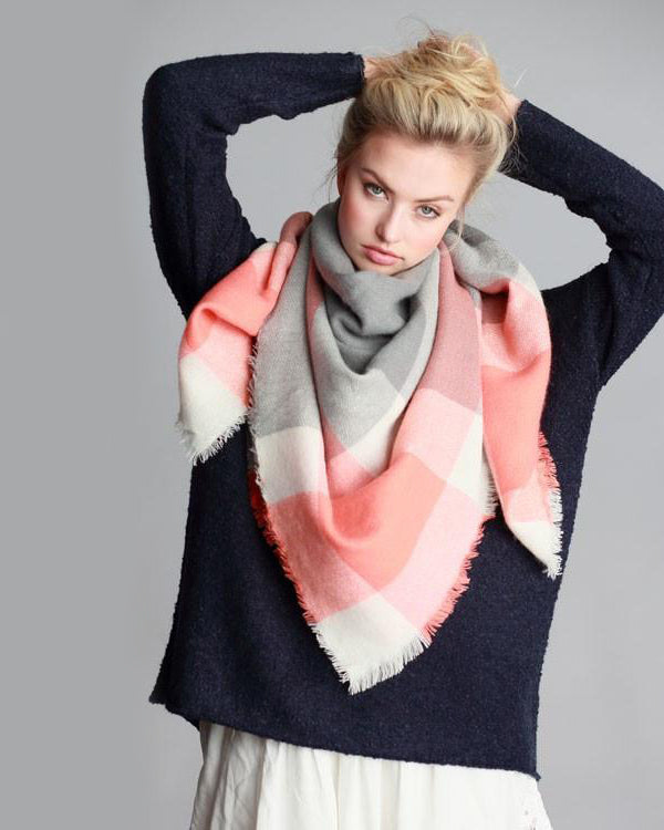 Roasting Marshmallows Blanket Scarf (Coral & Gray Color Block)