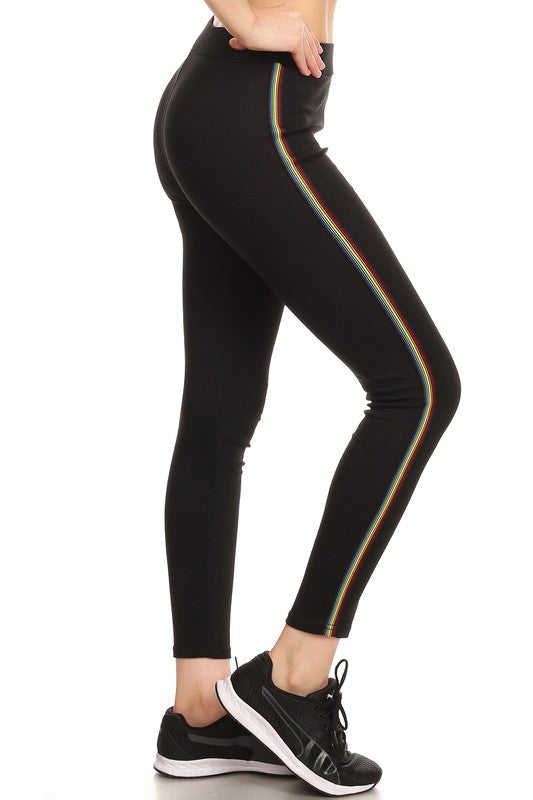 Jordan Rainbow Stripe Leggings - Mint Wish