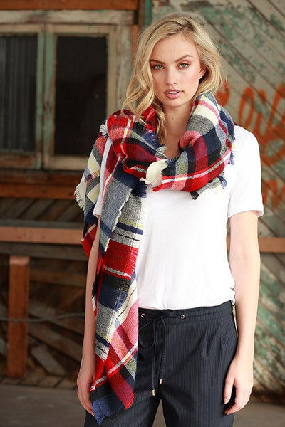 Blanket Scarf in Red & Blue Plaid - Mint Wish