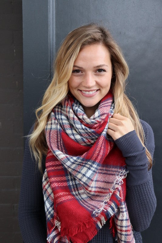 Cozy Up Blanket Scarf (Red, Cream & Blue Plaid) - Babe Outfitters