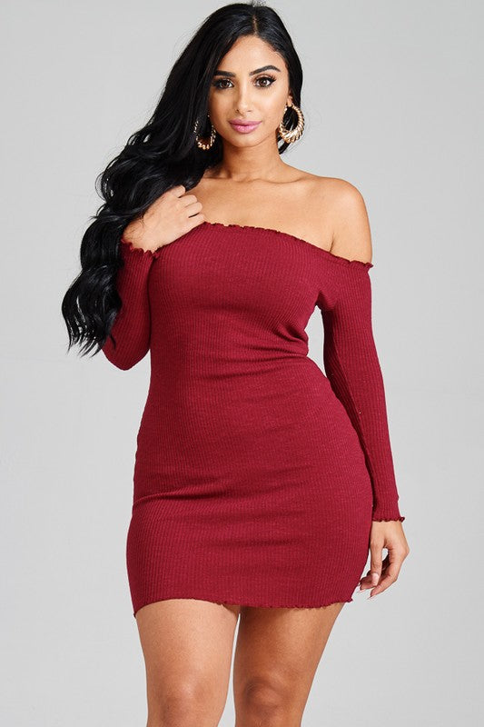 Heartbreaker Off The Shoulder Bodycon Dress - Mint Wish