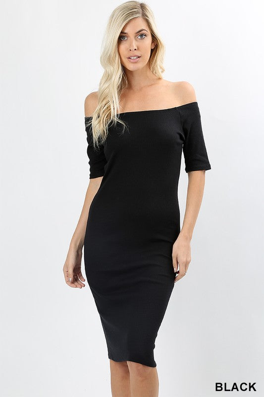 Melanie Ribbed Off The Shoulder Midi Dress