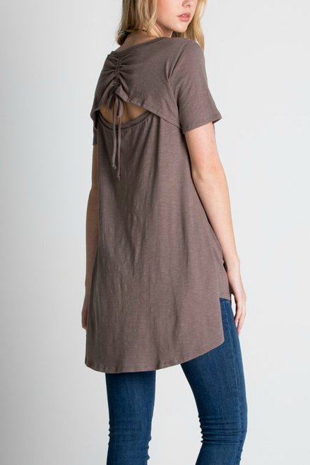 Callie Ruched Cut Out Back Tunic Top