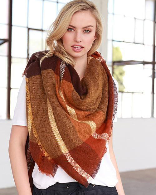 Autumn Feelings Blanket Scarf (Rust & Orange Color Block)