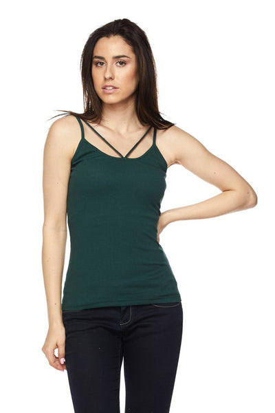 Carly Ribbed Strappy Cami Tank Top - Mint Wish