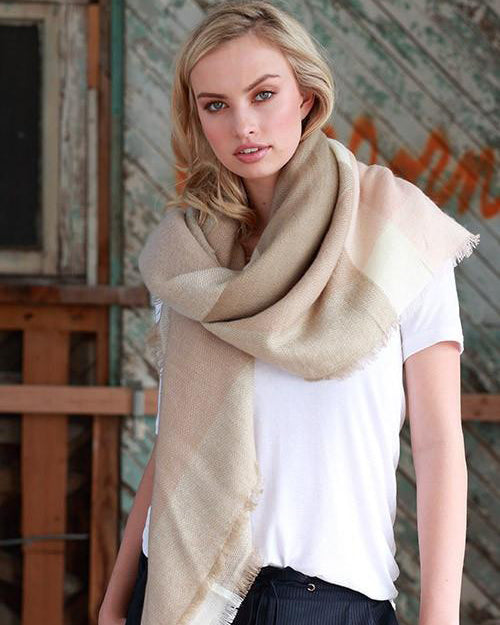 Cozy Days Blanket Scarf (Blush & Taupe Color Block)
