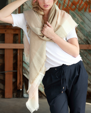 Cozy Days Blanket Scarf (Blush & Taupe Color Block) - Babe Outfitters