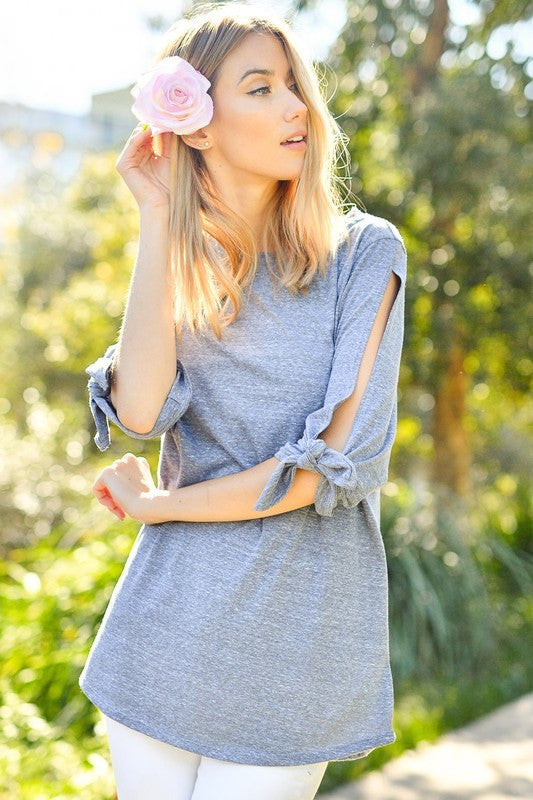 Follow The Breeze Open Sleeve Bow Tie Top (Heather Grey)