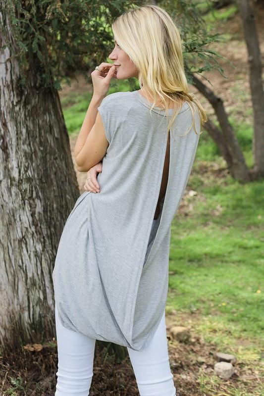 Open Back Tunic (Gray) - Mint Wish