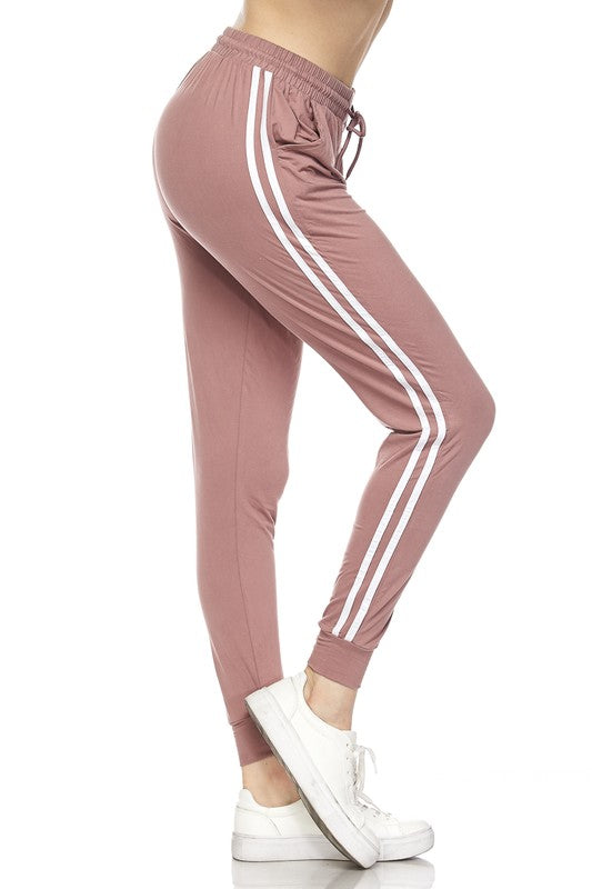 Varsity Stripe Jogger Leggings - Mint Wish