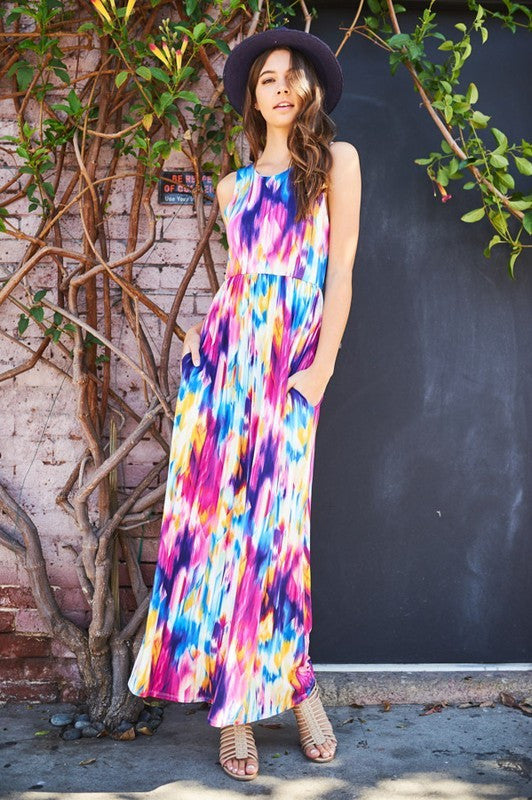 Painted Skies Sleeveless Maxi Dress