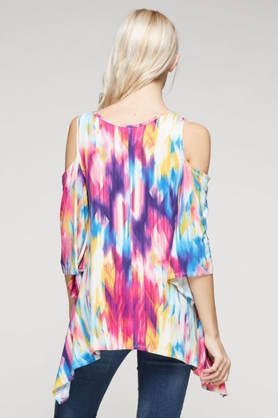 Painted Skies Cold Shoulder Tunic - Mint Wish