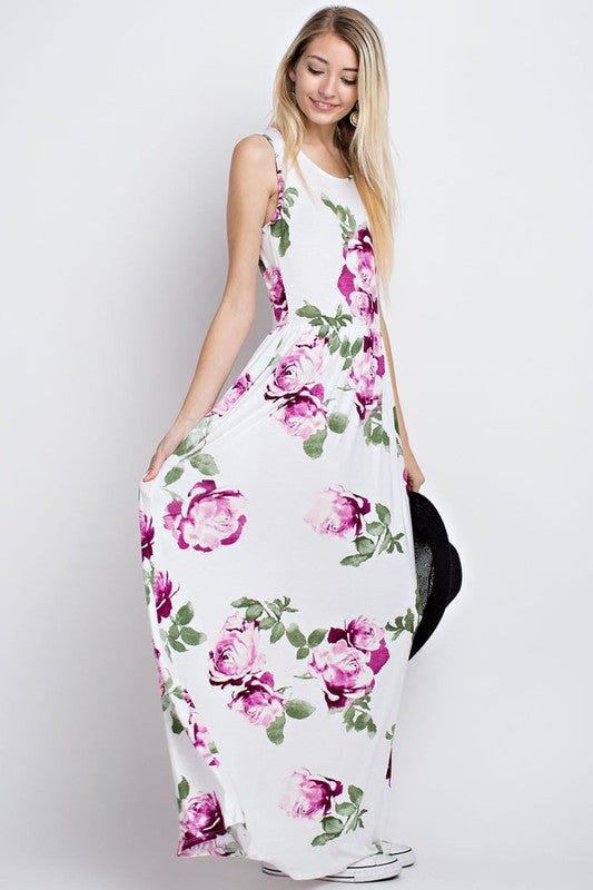 Garden Charm Sleeveless Maxi Dress (Ivory) - Mint Wish