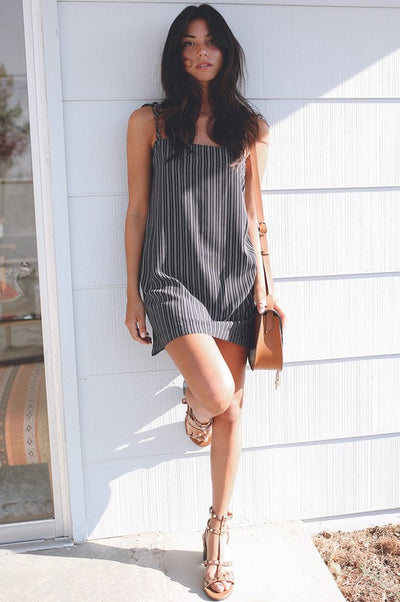 Seaside Stripe Woven Tie Shoulders Casual Cami Dress - Mint Wish