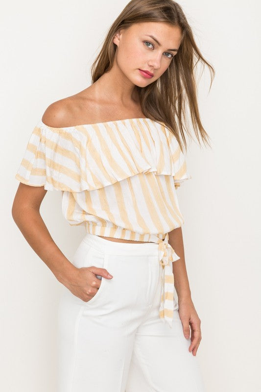 Fiona Stripe Off The Shoulder Cropped Tie Top