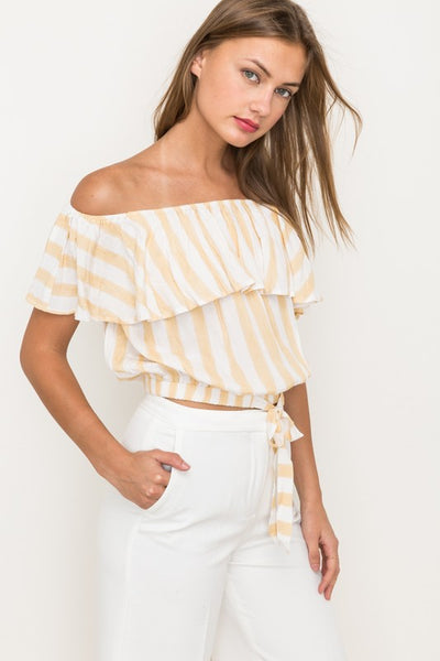 Fiona Stripe Off The Shoulder Cropped Tie Top - Mint Wish