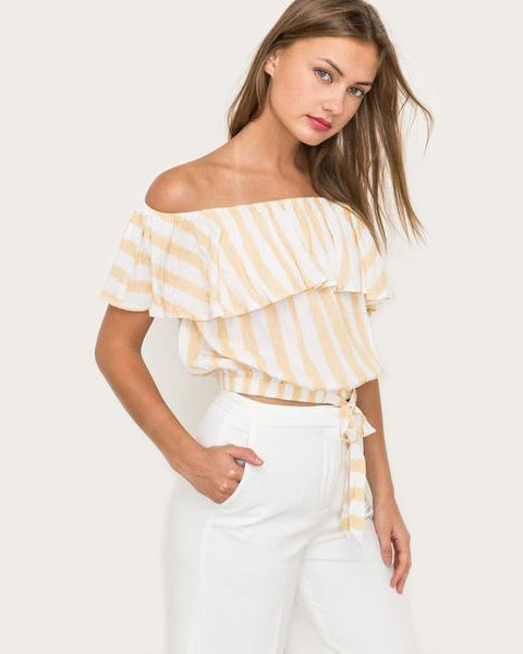 The Sunny Stripe Bow Crop Top