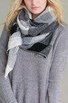 Knit Scarf -Black/White Plaid Color Block - Mint Wish