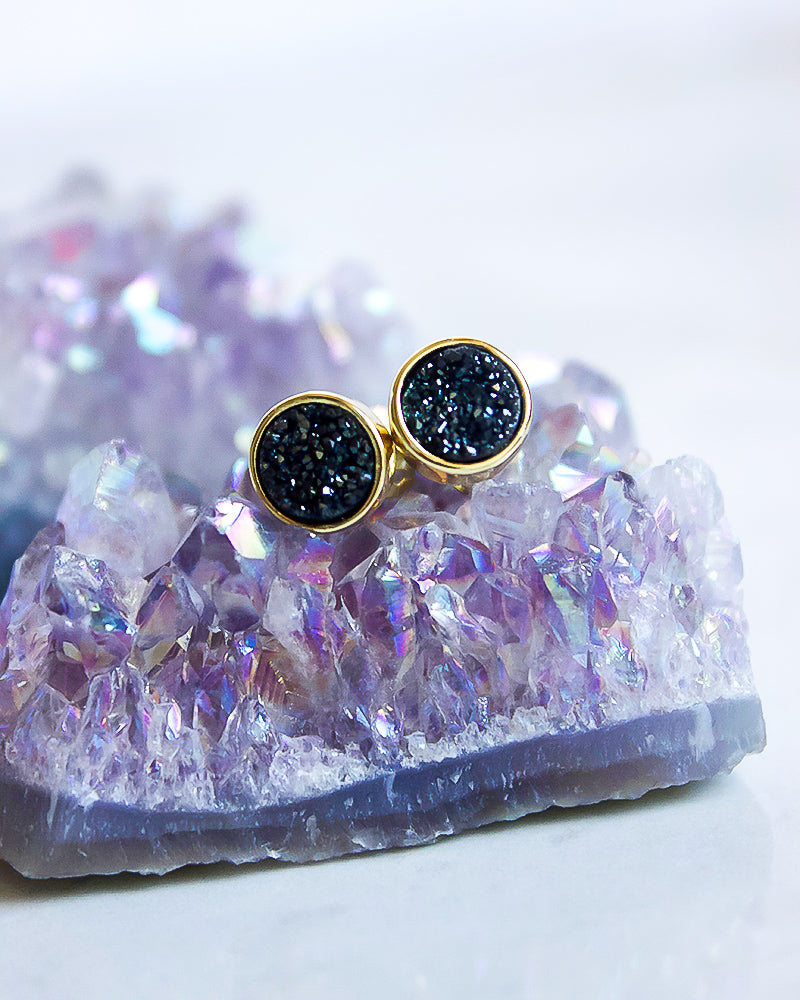 24KT Gold Plated 8mm Druzy Stud Earrings in Midnight
