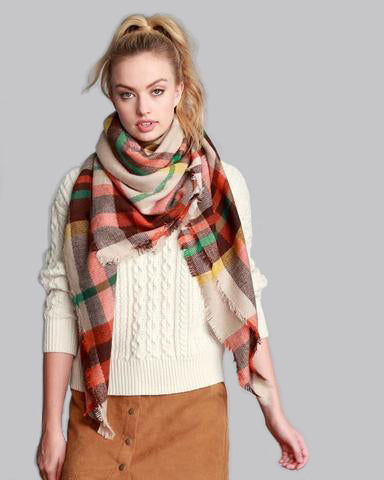 Fall Feelings Blanket Scarf (Orange Plaid)