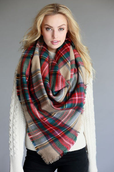 Blanket Scarf in Beige Plaid - Mint Wish