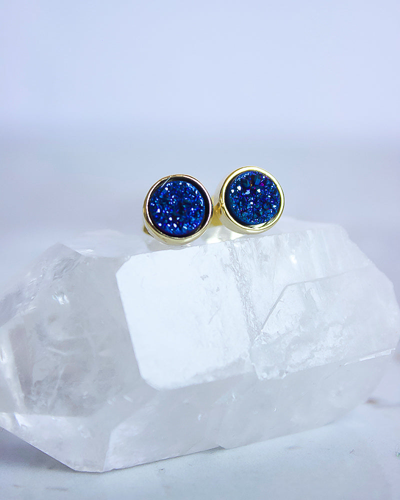 24KT Gold Plated 8mm Druzy Stud Earrings in Electric Blue