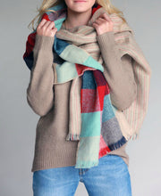 Wrap it Up Reversible Blanket Scarf (Mint Color Block & Stitched Stripe) - Babe Outfitters