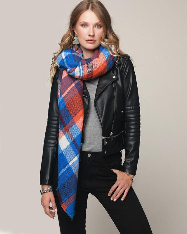 Cozy Nights Blanket Scarf (Cobalt Plaid)