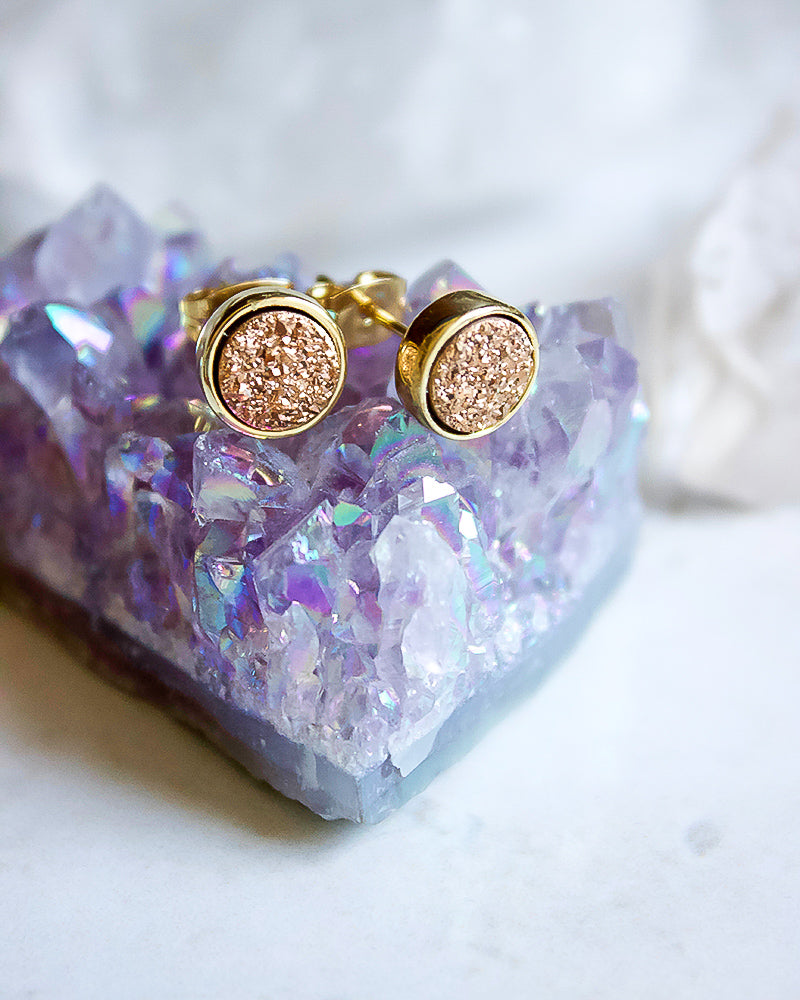 24KT Gold Plated 8mm Druzy Stud Earrings in Copper - Babe Outfitters