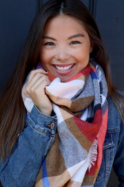 Autumn Hugs Blanket Scarf (Cream, Blue & Coral Plaid) - Babe Outfitters