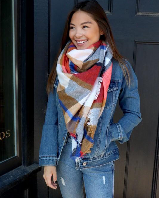Blanket Scarf (Cream, Blue & Coral Plaid)