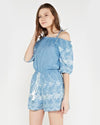 Zuri Denim Faux Embroidered Off The Shoulder Romper
