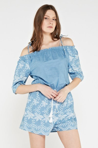 Zuri Denim Embroidered Off The Shoulder Romper - Mint Wish