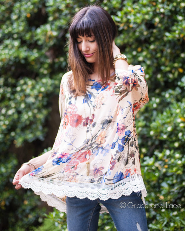Grace & Lace Angel Wing Top in Floral™ - Babe Outfitters