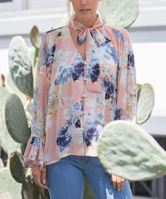Christina Floral Button Up Bell Sleeve Blouse - Mint Wish