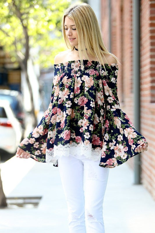 Floral Enchantment Off The Shoulder Bell Sleeve Top - Mint Wish