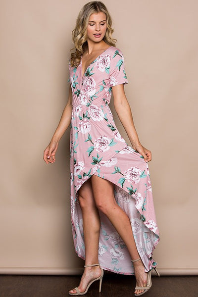 Falling For Floral Maxi Dress (Mauve) - Mint Wish