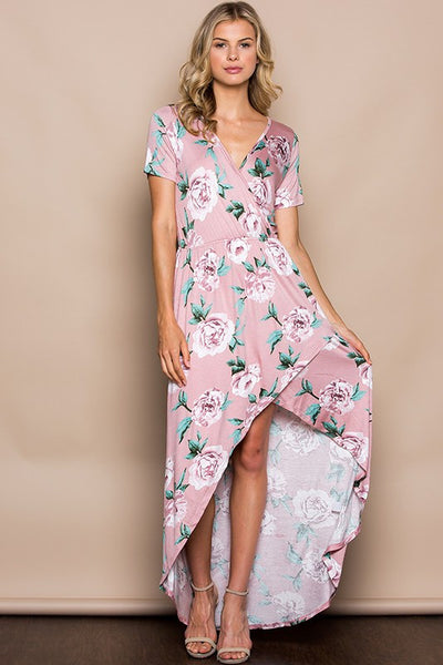 Falling For Floral Wrapped Maxi Dress - Babe Outfitters